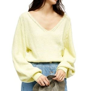 Free People Riptide V Neck Chunky Baggy Sweater